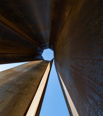 Cross-section view of the 250 feet, 8 sided steel plate of Richard Serra's sculpture '7' right outside MIA