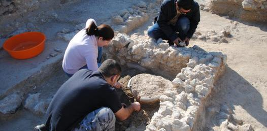 Hatem Arrok and a group of people bending down and excavating fossils