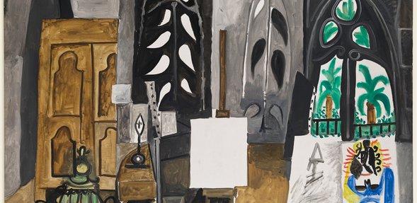 """بابلو بيكاسو، """"استوديو فيلا كاليفورنيا""""، كان، 30 مارس 1956، ألوان زيتية على قماش، 114 × 146 سم، متحف بيكاسو الوطني في باريس، تقدمة للمتحف كبدل ضريبي،"""