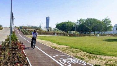 A cycylist at the popular Al Bidda Park