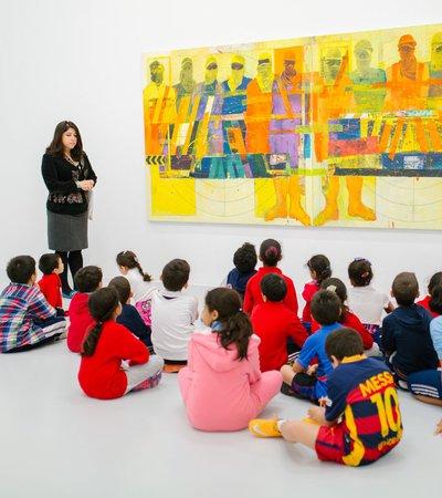 Children gather at Mathaf Arab Museum of Modern Art for a class