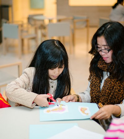A photograph of children taking part in a Qatar Museums workshop