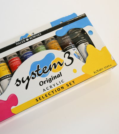 A box set of Daler Rowney System 3 acrylic paints