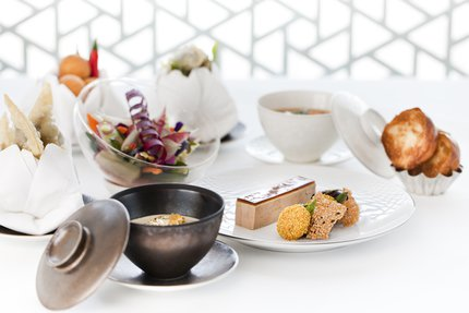 A display of different dishes of food served at Idam restaurant