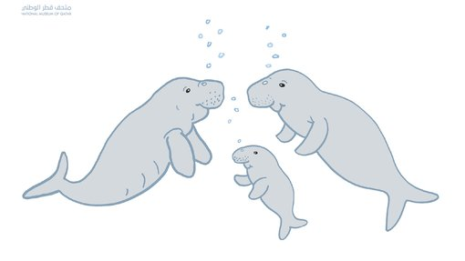 An illustration of a dugong family underwater by Gabriele Bickl
