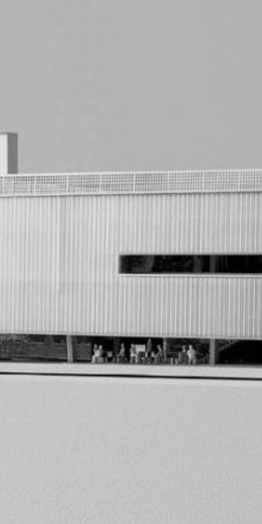 صورة مصغرة باللون الأبيض والأسود للعمارة الخارجية لمتحف كراج