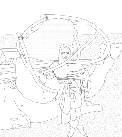 Illustration of a Qatari girl standing by a camel