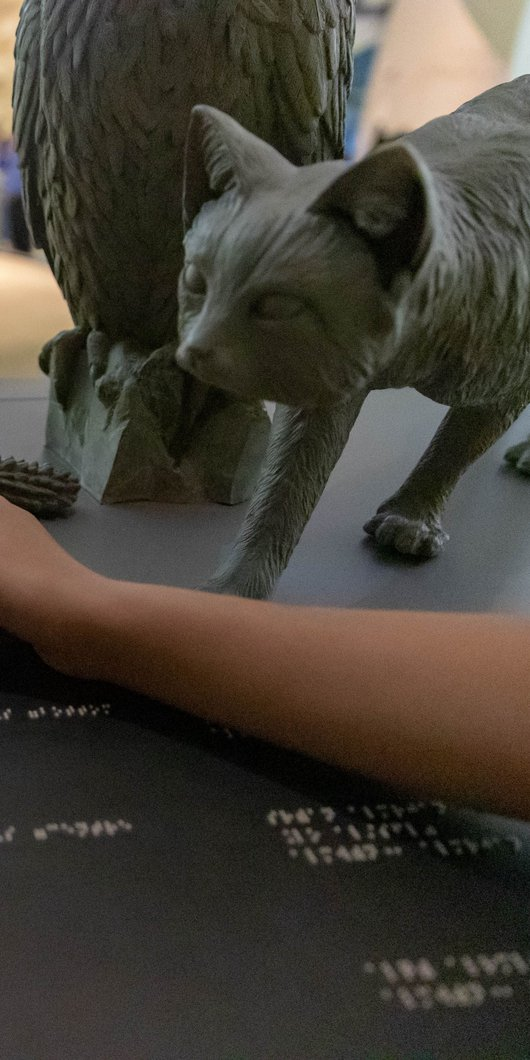 Children reaching out and touching tactile stations with braille and textures at NMoQ
