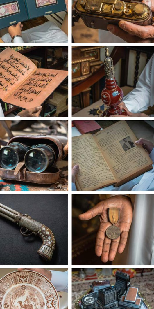 A montage of locally collected objects