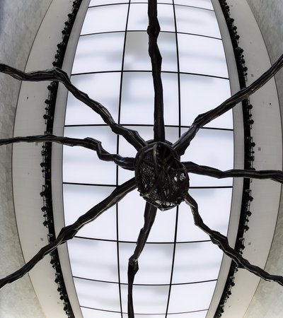A close-up shot from under the sculpture showing the detailed bronze and stainless steel work around the Maman's body