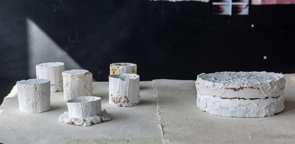 سلسلة من الأجسام الفنية البيضاء مصنوعة من مواد مختلطة من تصميم نائلة آل ثاني تسمى المكونات المادية ، موضوعة على طاولة خلفها جدار أسود.