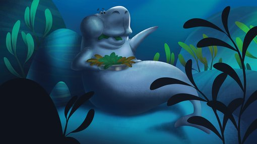 A dugong surrounded by aquatic plants, eating seaweed illustrated by Moataz Omar