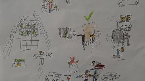 رسومات طفولية ملونة بألوان بسيطة تضم أشخاصاً وسيارات وأجهزة