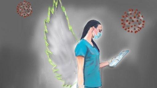 لوحة لإحدى عاملات الرعاية الصحية ذات أجنحة ملائكية  وصورة فيروس كورونا مكررة في الخلفية