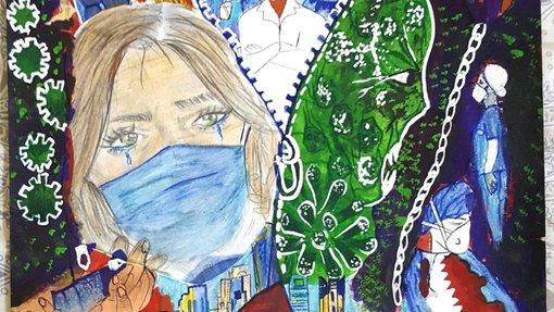 لوحة مزدحمة بعناصر متنوعة مثل أفق الدوحة وعمال الرعاية الصحية وطيور وامرأة ترتدي كمامة