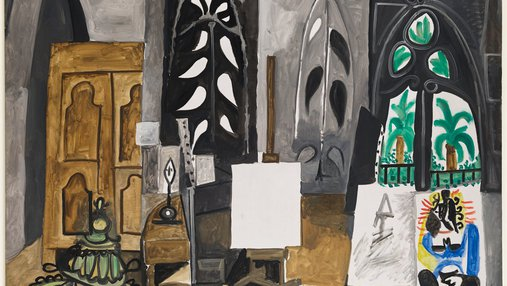 A painting of one of Picasso's studios, it's painted in neutral colors.