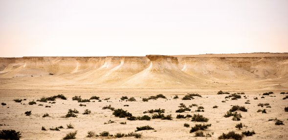 منظر طبيعي للمنحدرات يظهر حوافها الشاهقة فوق الأرض