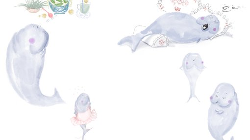 An illustration of multiple dugongs in different positions and outfits submitted by Sumaya Al Shebani