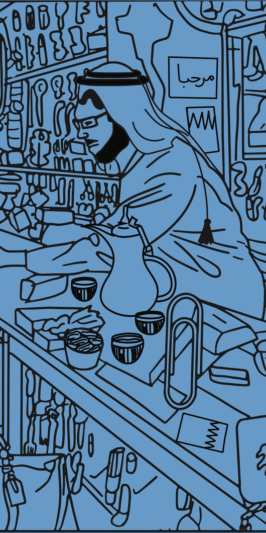 Line drawing of a traditionally dressed shopkeeper selling to a customer from his crowded store