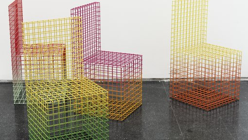 A set of metal and chrome colorful artworks in the shape of chairs by Virgil Abloh